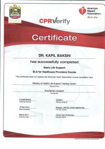 BLS Course Certificate