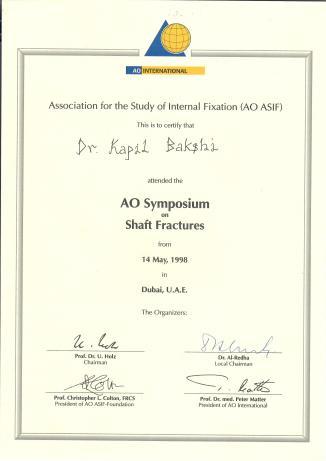 Switz. AO Symposium Certifiate