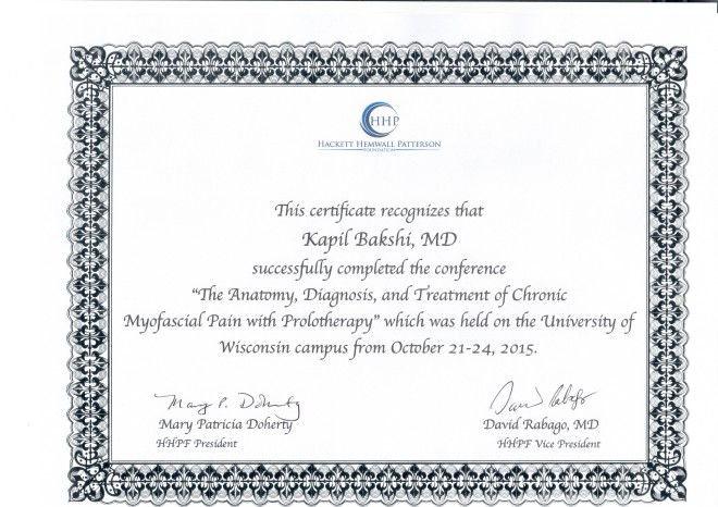 Wisconsin USA Prolotherapy Certificate